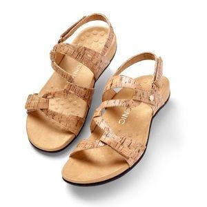 Vionic Casual Paros Golden Cork Sandals Size 10